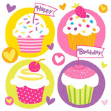 "5x5"" Multi-color Cupcake Party Beverage Napkins 16pk"