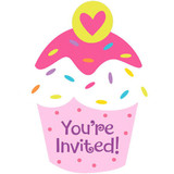 "4x5"" Pink Cupcake ""You're Invited"" Card 8pk"