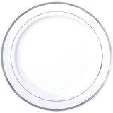 """16"""" WHITE AND SILVER RIM TRAY"""