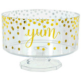 """40oz Gold """"Yum"""" Hot Stamped Trifle Plastic Container"""