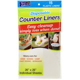 """26"""" x 26"""" Disposable Plastic Counter Liners - Transparent 15 Count"""