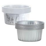 "2 1/2"" Decorative Mini Round Aluminum Baking Pans - Silver - 20 Ct."