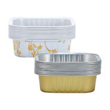 "2 3/4"" Decorative Mini Square Aluminum Baking Pans - Gold 20 Ct."