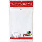 "84"" Clear Round Plastic Tablecover"