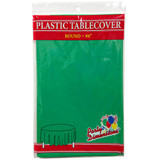 "84"" Green Round Plastic Tablecover"