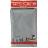 """84"""" Silver Round Plastic Tablecover"""