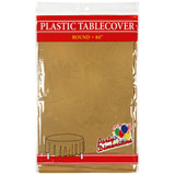 "84"" Gold Round Plastic Tablecover"