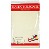 """84"""" Ivory Round Plastic Tablecover"""