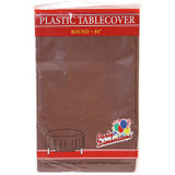 """84"""" Chestnut Round Plastic Tablecover"""