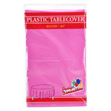 "84"" Hot Pink Round Plastic Tablecover"