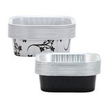 "2 3/4"" Decorative Mini Square Aluminum Baking Pans - Black 10 Ct."