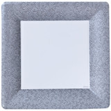 """Silver Texture 10"""" Square Dinner Paper Plates 24 Ct."""