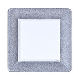 "Silver Texture 7"" Square Dinner Paper Plates 24 Ct."