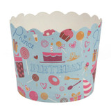 Scalloped blue birthday Large Baking Cups (16 Count)