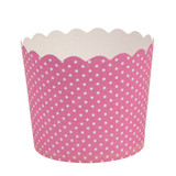 Scalloped Pink polka dots Large Baking Cups (16 Count)