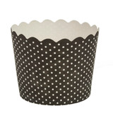 Scalloped black polka dots Large Baking Cups (16 Count)