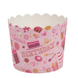 Scalloped pink birthday Large Baking Cups (16 Count)