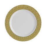 """Hammered Plates 7.25"""" Gold - 12pk"""