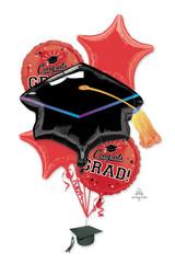 Anagram Red Grad Balloon Bouquet 5pk
