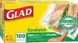 Glad Sandwich Zipper Bags 100pk