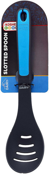 The Kosher Cook Blue Dairy Slotted Spoon