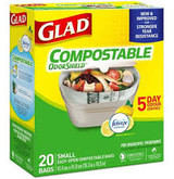 Glad 100% Small Compostable Bags, Lemon Scent, 20pk