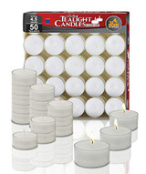 Ner Mitzvah 4.5 Hour Tea Lights In Clear Cups, 50pk