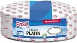 """Basix 9"""" White Disposable Plastic Plates, 100pk"""