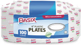 """Basix 6"""" White Disposable Plastic Plates, 100pk"""