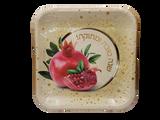 """Shana Tova Umesuka 7"""" Square Pomegranate Plates, 10pk"""