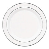 "Exquisite 10.25"" White With Silver Band Plates (10 Count)"