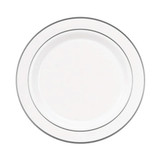 "Exquisite 9"" White With Silver Band Plates (10 Count)"