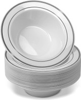 Exquisite 6 Oz White With Silver Band Bowls (10 Count)