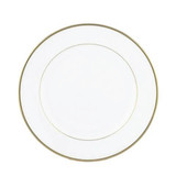 "Exquisite 9"" White With Gold Band Plates (10 Count)"