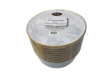 24 Oz Classic White Plastic Soup Bowls With Gold Band - 10 Ct.