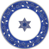"Joyous Holiday 7"" Blue and White Plates 8ct."