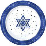 """Happy Hanukkah 13.5"""" Sparkle Melamine Plastic Party Platter"""