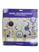 Amscan Hanukkah Swirl Decorations, 12pk