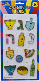 Izzy 'n' Dizzy Chanukah Shaped Rubber Bands, 12pk