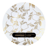 "Gold Brushed Chanukah 10"" Dinner Plates, 10pk"