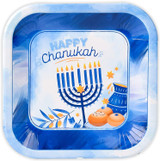 "Izzy & Dizzy Blue/White 7"" Chanukah Plates, 10ct."