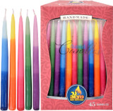 Ner Mitzvah Handmade Tri-Colored Beeswax Chanukah Candles, 45pk