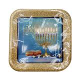 "Chanukah Sameach 9"" Blue/Silver Square Sparkle Plates, 10pk"