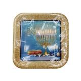 "Chanukah Sameach 7"" Blue/Silver Square Sparkle Plates, 10pk"