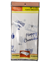 "Happy Chanukah Blue/White 54"" x 108"" Plastic Tablecover"