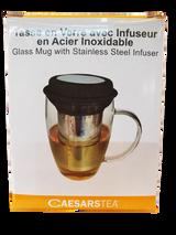 Caesars Tea Glass Mug with Stainless Steel Infuser