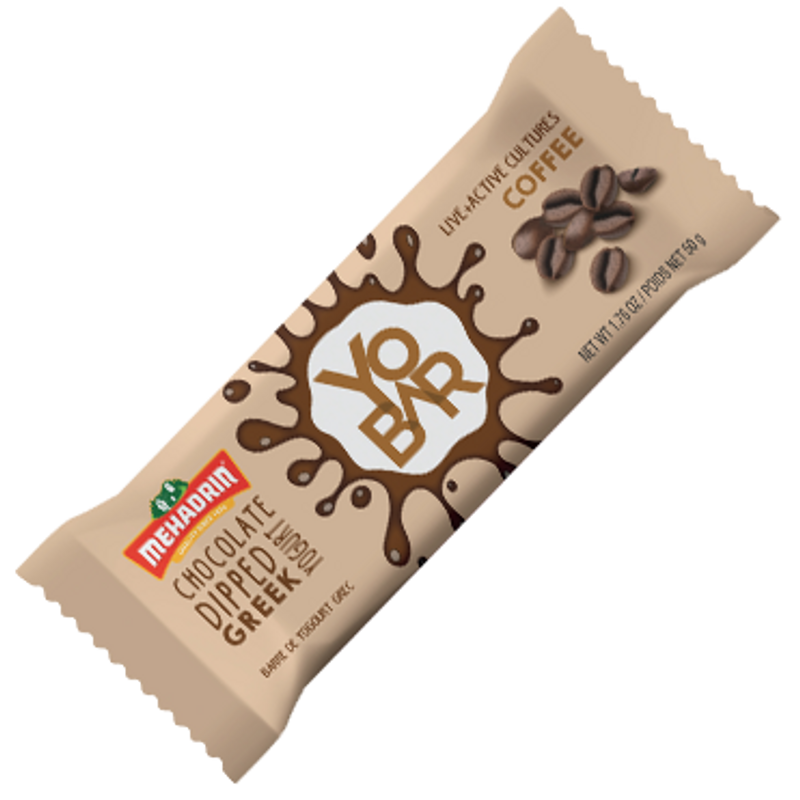 Grab and Go Snack  Comprised entirely of Greek yogurt and covered in a thin dark chocolate layer.  It is created through a process involving straining water from yogurt to obtain a strong consistency,  and voila, there���s your Yobar.  Has 25 Billion Probiotics  Packed with Iron