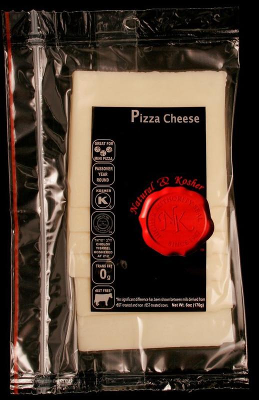 Natural & Kosher Sliced Pizza Cheese 6 oz.  Kosher Dairy - Cholov Yisroel - Kosher For Passover  Rich in Protein