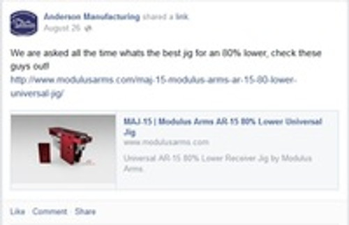 Modulus Arms Recommended by Anderson Manufacturing as Best AR-15 80% Lower Jig