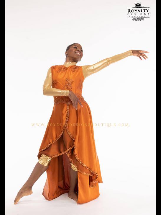 """'Revival Fire"""" - Long Elegant Sleeveless Worship Garment / Copper Orange"""